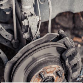 closeup rusty brake